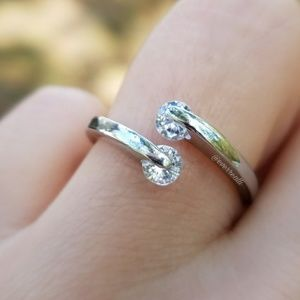 Silver Double Round Crystal Adjustable Open Ring